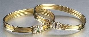TWO 18K YELLOW GOLD AND DIAMOND BRACELET