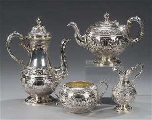 10: A VICTORIAN SILVER TEA AND COFFEE SERVICE