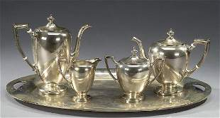 17: AN AMERICAN SILVER FIVE-PIECE TEA AND COF