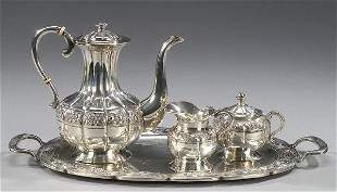 18: A MEXICAN SILVER DEMITASSE SET, by Sanbo