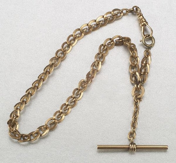 334: A 14K YELLOW GOLD FOB CHAIN,   Designed