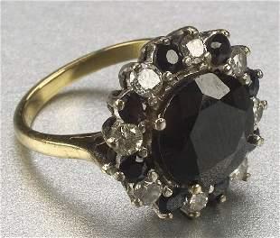 AN 18K YELLOW GOLD, SAPPHIRE AND DIAMOND