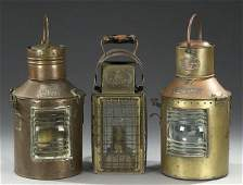 691 TWO BRASS SHIPS SIGNAL LAMPS  early 20