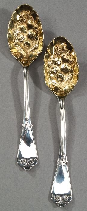 6: TWO TIFFANY & CO STERLING FRUIT SPOONS, mi