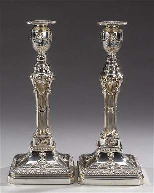 A PAIR OF GEORGE III STYLE SILVER PLATED