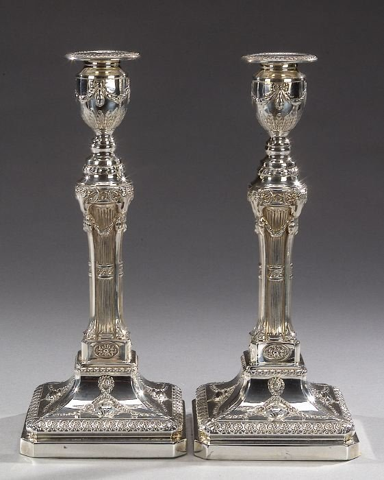 11: A PAIR OF GEORGE III STYLE SILVER PLATED