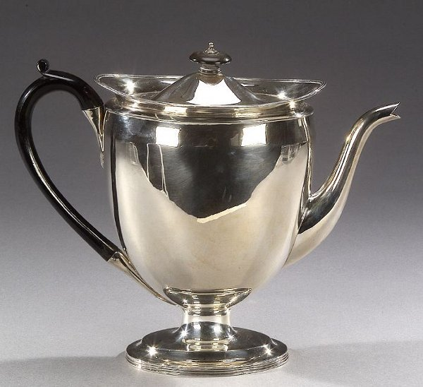 12: A GEORGE III STERLNG TEAPOT, London, 1803