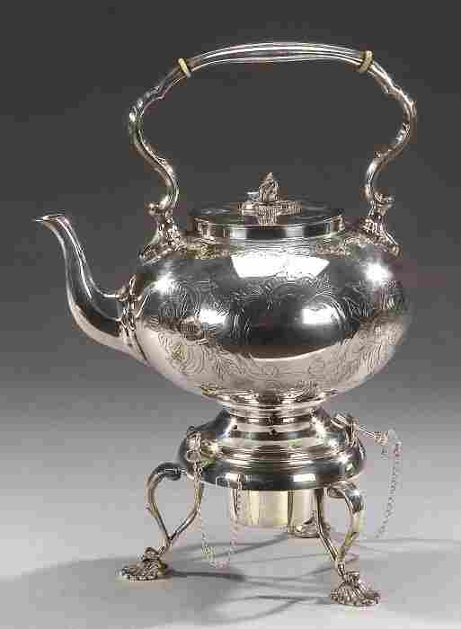 A VICTORIAN SILVER PLATED TEAPOT WITH BUR
