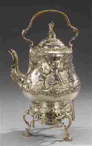 A VICTORIAN STERLING TEAPOT WITH BURNER O