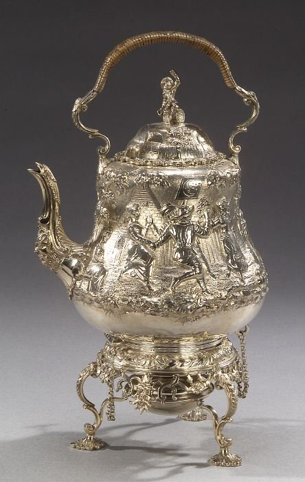 16: A VICTORIAN STERLING TEAPOT WITH BURNER O