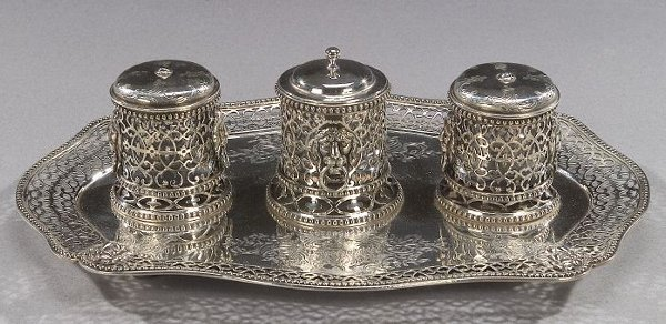 17: A VICTORIAN STERLING STANDISH, London, 18