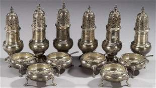 SIX GEORGE II STYLE SILVER PEPPER CASTERS