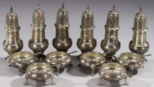 20: SIX GEORGE II STYLE SILVER PEPPER CASTERS