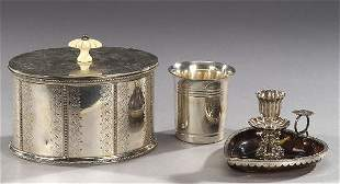 THREE SILVER AND SILVER PLATED ARTICLES,