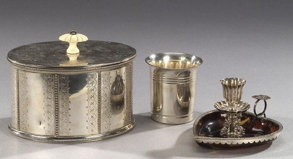 22: THREE SILVER AND SILVER PLATED ARTICLES,