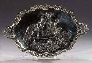 A STERLING LOUIS XV STYLE DECORATIVE TRAY