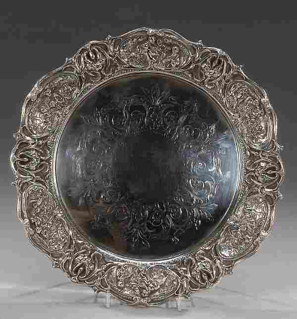 A LOUIS XV STYLE STERLING DISH, marked 'S