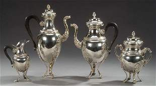 A THREE-PIECE EMPIRE STYLE SILVER PLATED