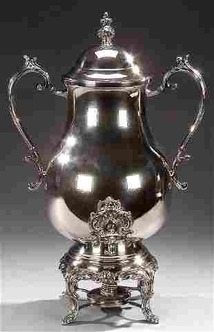 A LOUIS XV STYLE SILVER PLATED COFFEE URN