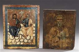 504: TWO GREEK ICONS, early 20th century. The