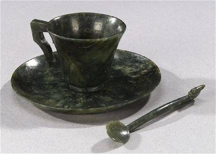 TWELVE CHINESE SPINACH JADE CUPS, SAUCER