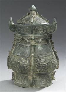 A CHINESE ARCHAISTIC BRONZE WINE VESSEL(
