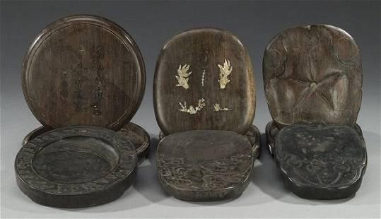 THREE CHINESE INKSTONE AND WOOD BOXES. O