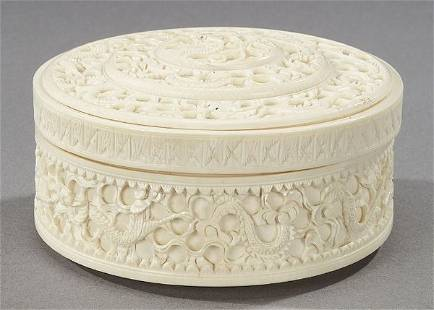 A CHINESE IVORY CIRCULAR BOX. - 4 1/2 in