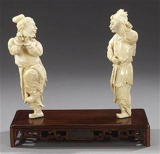 TWO CHINESE IVORY FIGURES OF MEN, early