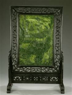 A LARGE CHINESE SPINACH JADE TABLE SCREE