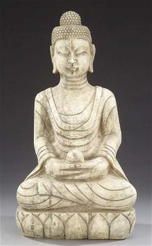 A CHINESE MARBLE FIGURE OF BUDDHA. Seate