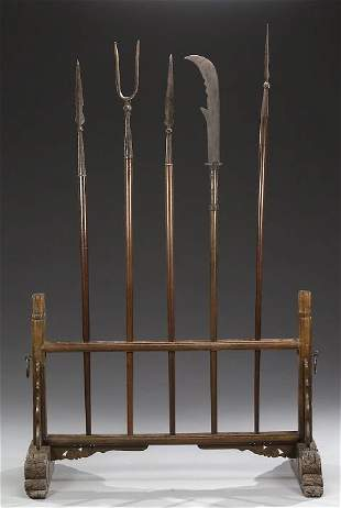 FIVE CHINESE IRON AND WOOD THEATER WEAP