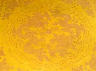 A CHINESE IMPERIAL YELLOW SILK PANEL, 19