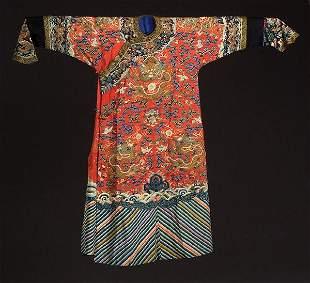A CHINESE KESI SILK DRAGON ROBE, Qing dy