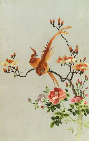 A CHINESE EMBROIDERED SILK PANEL. Worke