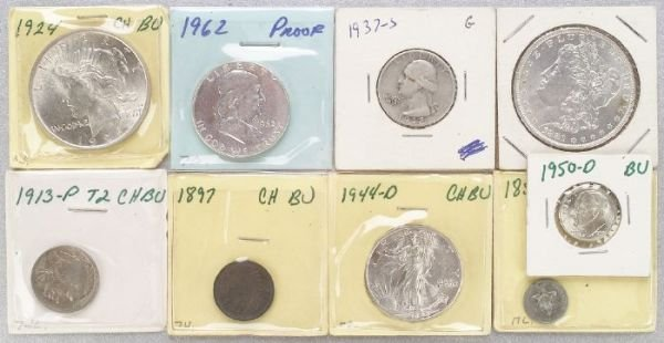 659: A COLLECTION OF MINTED COINS. Includes s