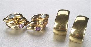 TWO PAIRS OF YELLOW GOLD EARRINGS. Inclu