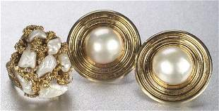 A GROUP OF PEARL JEWELRY. Includes a pai