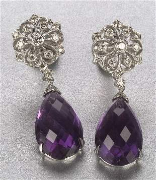 A PAIR OF 18K WHITE GOLD, AMETHYST AND D