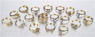 A GROUP OF SEMI-MOUNT RINGS. Includes on