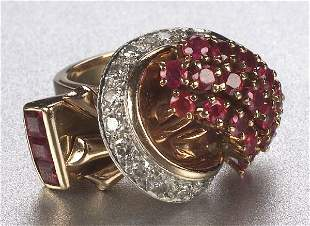 A RETRO PLATINUM, PINK GOLD, RUBY AND DI