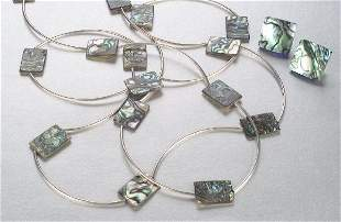 A STERLING AND ABALONE NECKLACE AND EARR