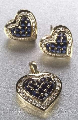 A 14K YELLOW GOLD, SAPPHIRE AND DIAMOND