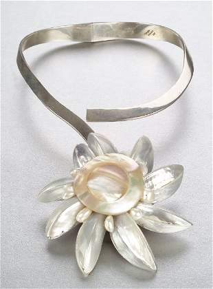 A STERLING SILVER AND MOTHER OF PEARL NE