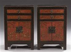 767: A PAIR OF SMALL CHINESE RED LACQUERED EL