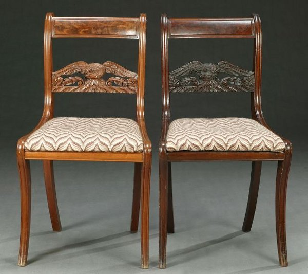 456: A PAIR OF EMPIRE MAHOGANY SIDE CHAIRS, c
