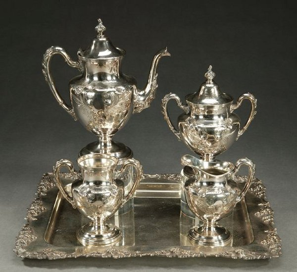 10: AN AMERICAN 4-PIECE SILVER PLATE TEA SERV