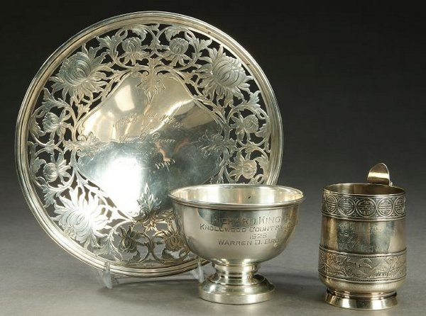 12A: THREE PIECES AMERICAN STERLING HOLLOWARE