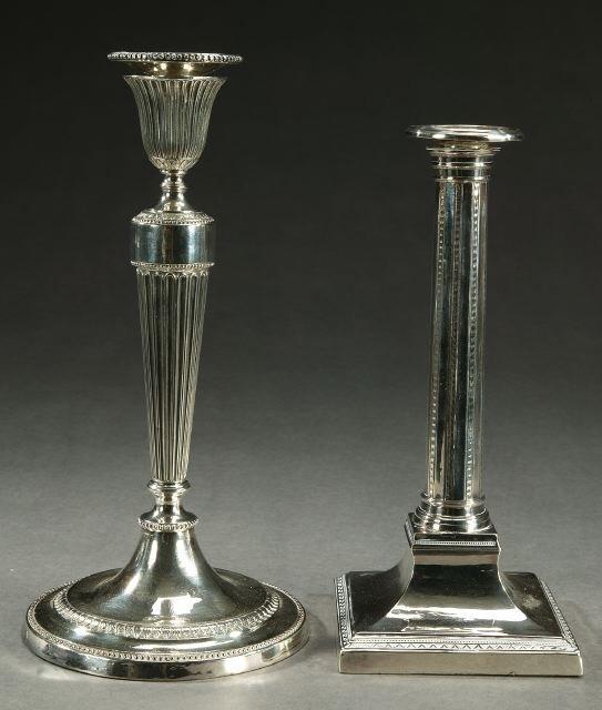 14: TWO SILVER PLATED CANDLESTICKS, 20th cent