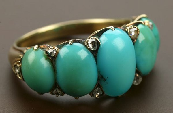 718: AN ANTIQUE 18K YELLOW GOLD, TURQUOISE AN